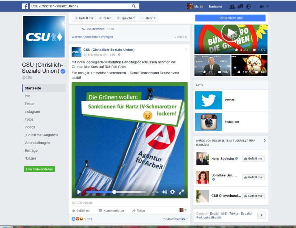Facebook Screenshot der CSU